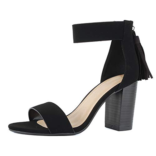 Women Velcro Ankle Strap Chunky Block Dress High Heel Sandals (10 M US, Black Fringe)