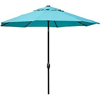 Abba Patio 9u0027 Patio Umbrella Outdoor Table Market Umbrella With Push Button  Tilt/Crank