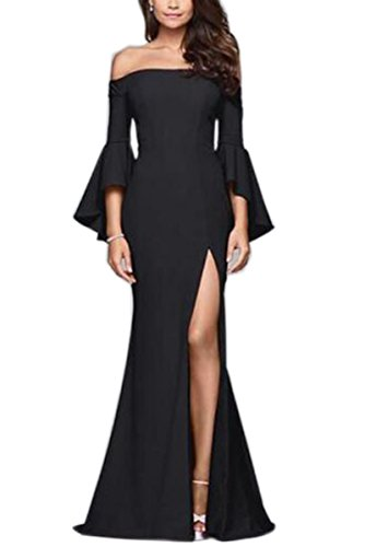 Engood Women Wrap Sexy Off Shoulder Strap Flare Sleeve Split Side Long Evening Party Dresses Cocktail Formal Gown For Women Black S