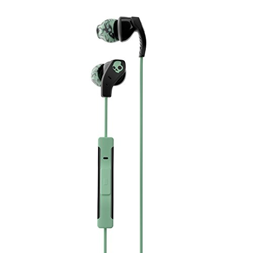 Skullcandy Method Sweat Resistant Sport Earbud with In-Line Microphone and Remote, Lightweight and Secure In-Ear Fit for Running and Exercise, Cable Management Clip for Workouts, Black/Mint (Skullcandy Audio)