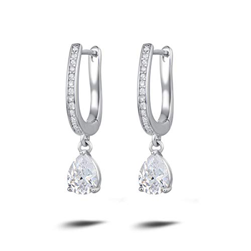 (Carleen 925 Sterling Silver CZ Cubic Zirconia Dangle Drop Earrings for Women Girls (Pear))