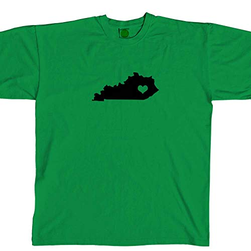Kentucky State Love Crew Neck T Shirt Unisex Cotton tee (Shamrock Green, M) b12013