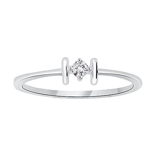 Diamond Promise Ring in Sterling Silver (1/20 cttw) (I-Color, SI3--I1 Clarity) (Size-8.75) by KATARINA