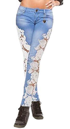 (pipigo Women Denim Spliced Pants Lace Pencil Legging Low Waist Jeans White Blue)