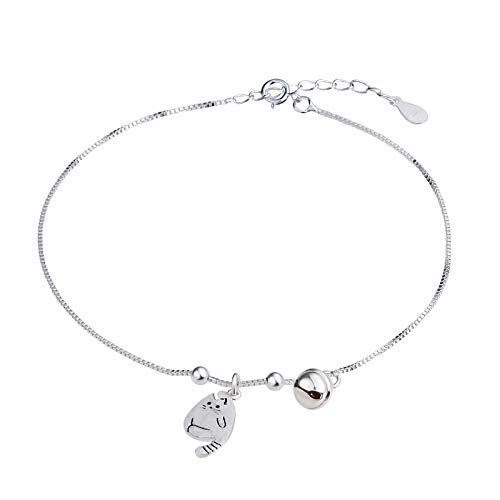 Beydodo Ankle Bracelet Sterling Silver Bells Beach Foot Jewelry Wedding Cat and Bells Charms by Beydodo