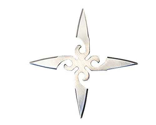 Ninja Stainless Throwing Stars Cross shape Practice Foam Shuriken made in JAPAN - 5.1 inch ( 1.9 oz ) - Silver