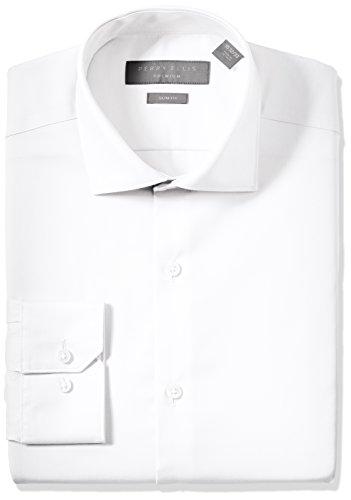 (Perry Ellis Men's Slim Fit Non-Iron Cotton Dress Shirt, White Solid, 15.5 32/33)