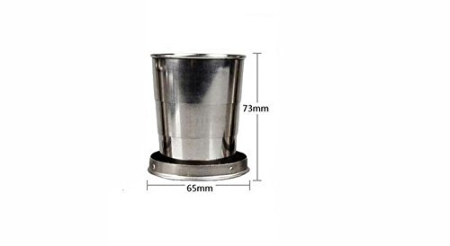 Stainless Steel Portable Outdoor Travel Camping Folding Collapsible Cup Metal Telescopic Keychain 1pc× (140ml)