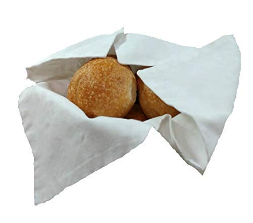 Basket Liner and Warmer for Breads and Rolls in Luxurious White on White Fabric