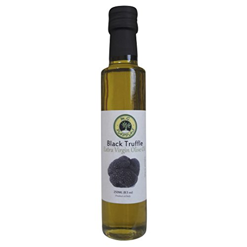 (M.G. PAPPAS Black Truffle Olive Oil Infused Extra Virgin Cold Pressed Fresh Italian EVOO Salad Dressing Cooking Garlic Flavor Healthy Food Aroma Mediterranean Diet Gourmet 8.45 fl. Oz 250 ml)