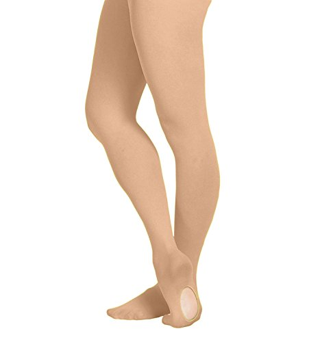 (Grandeur Hosiery Girls' Kids Children's Ultra Soft Convertible Transition Dance Ballet Tights Suntan 6-8)