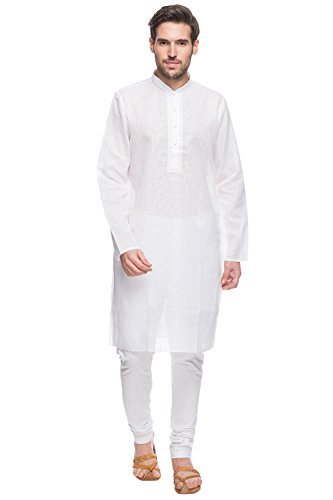 Shatranj Men's Indian Ethnic Fine Embroidered Placket 2-Pcs Checkered Suit Set; White; LG by Shatranj