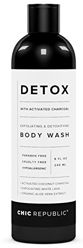 Natural Body Wash with Activated Coconut Charcoal, Exfoliating Wash White Lava, Aloe Vera Plant Extract, as Detox & Hypoallergenic Shower Gel, for Skin Rejuvenation, Sensitive Skin, Women (Deep Exfoliating Gel Wash)