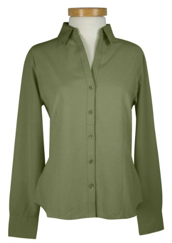 Tri-Mountain Women's Tailored Fit Open Neck Waffle Weave Shirt,