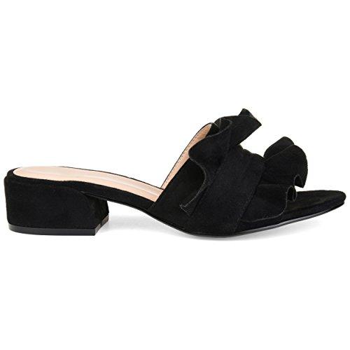 Brinley Co. Womens Salest Ruffle Faux Suede Slide-on Mules Black, 7.5 Regular US