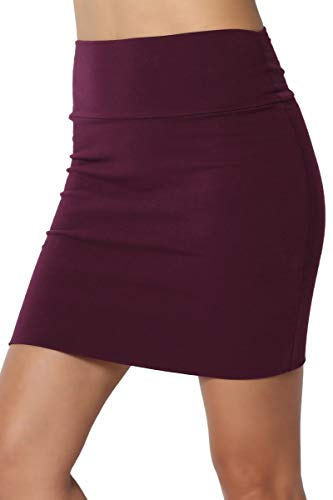 - TheMogan Junior's High Waist Stretch Jersey Lined Bodycon Mini Skirt Dark Plum L