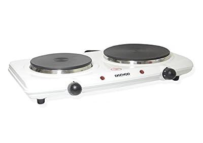 Daewoo DEAW-DI9305 Solid Disc 2500-watt Double Portable Burner, White, 220-volt