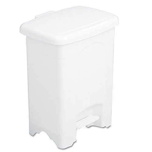 (Safco Products 9710WH Plastic Step-On Trash Can, 4-Gallon, White)