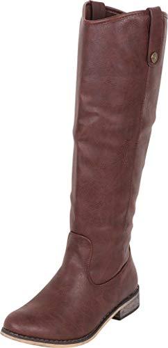 Riding Cowboy Boots Western - Cambridge Select Women's Western Riding Knee-High Cowboy Boot,8.5 B(M) US,Brown PU