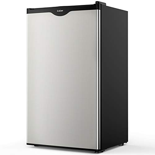 Colzer Compact Refrigerator Single Door Mini Fridge with Freezer for Office, Dorm or Apartment, 3 Cu. Ft. Stainless Steel Look ()