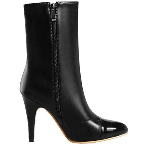 Boots Heel Women Zipper High Fashion Coolcept Short Black wHCxTqXZX