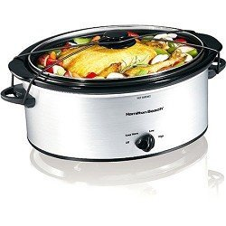 Hamilton Beach 5-Quart Portable Slow Cooker, Silver]()