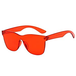 Sunglasses Glasses Women Fashion Square Shades Sunglasses Integrated UV Candy Colored Glasses (Red, 5.6)