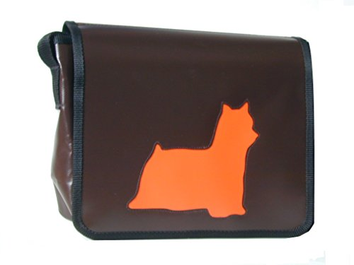 Schultertasche Hundemotiv Orange Yorkshire Terrier H 23, B 30, T 10