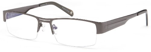 Mens Bridged Half Rimmed Prescription Rxable Optical Glasses in - Steel Glasses Rimmed