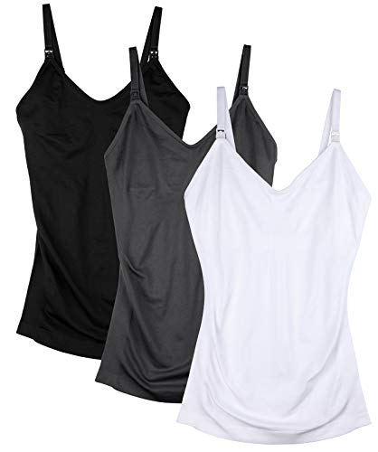 Seamless Nursing Tank Tops for Women Breastfeeding Maternity Cami Bra Pack of 3 Color Black Grey White