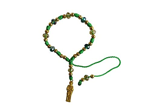 Green Thread with Cristal Beads Saint Jude Bracelet Pulsera De San Judas Tadeo