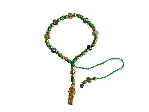 Green Thread with Cristal Beads Saint Jude Bracelet Pulsera De San Judas Tadeo