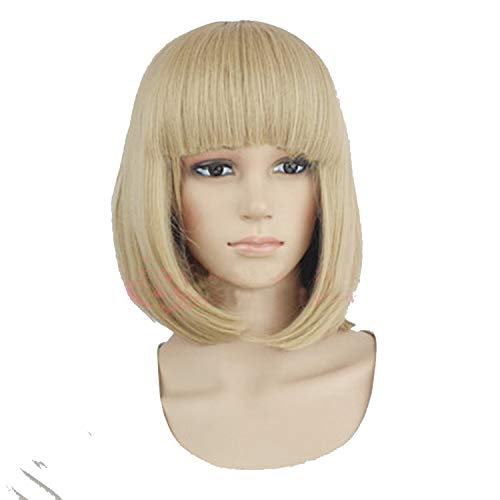 (Synthetic 10inch Straight Short Bob Wigs Bangs Blue Golden Red Black White Purple Pink Green Brown Cosplay Wig Female,Light)