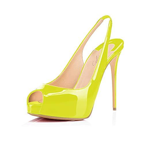 (Women's Peep Toe Slingback Sandals Hidden Platform Pumps 5