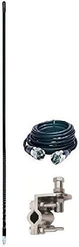ARIES 10822 Single 4` Foot 500 WATT CB Radio Antenna KIT W/Mirror Mount and Coax (Black)