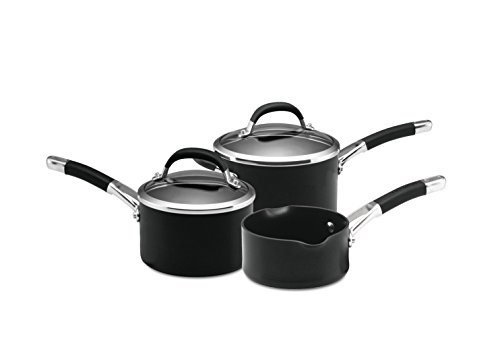 Circulon 66713 3-Piece Premier Professional Hard Anodised Saucepan Set, Black