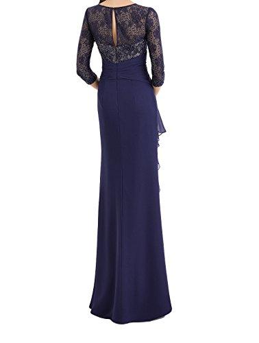 Langarm Lang Ballkleider Dunkel Etui Dunkel Brautmutterkleider Abendkleider Damen Blau Charmant Blau Damenmode Spitze wzCHIIq