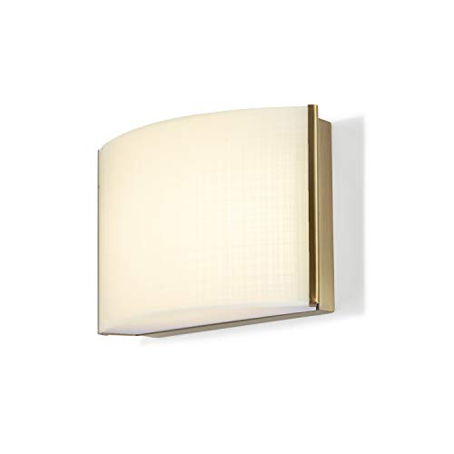 1-Light Brass Sconce Vanity Fixture - LED Bathroom Lamp, Linen Textured Glass, Hardwire, Damp Located, Fully Dimmable - ETL Listed -