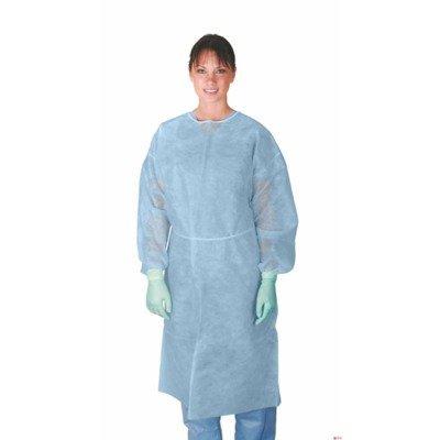 Medline CRI4000B Polypropylene Isolation Gowns with Side Neck Ties, Regular/Large, Blue (Pack of 50) by Medline