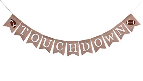 Rustic Touchdown Burlap Banner for Kids Boys Girls Adult | NFL Superbowl Sports Party Decorations Flag | Football Baby Shower and gender reveal Backdrop | Eagles Party Supplies and Favors | Pre-Strung No Need DIY