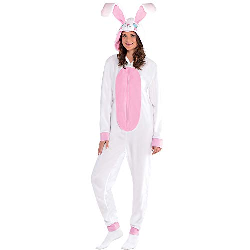 Amscan Easter Bunny One Piece Pajamas for Adults, Fleece, Large/Extra Large, with Attached Hood and Bunny Tail -