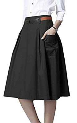 Earnest Women's Office Cotton High Waist Pocket A line Flare Midi Skirt