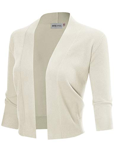 MAYSIX APPAREL 3/4 Sleeve Solid Open Bolero Cropped Cardigan, Msg1-ivory, Large