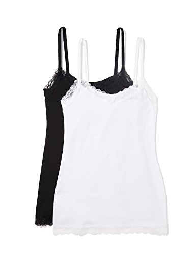 Iris & Lilly Women's Body Natural Lace Trim Cotton Camisole,  Pack of 2,  Multi/White/Black, S (US 4-6)