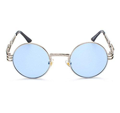Steampunk ronde en Bleu rétro Hellomiko à soleil Hippy de métal Lunettes Lunettes soleil Argent de monture OzqpXw