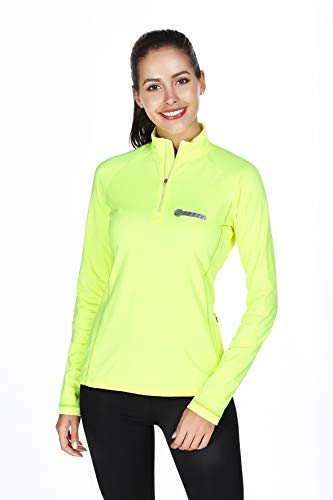 - Bpbtti Women's Thermal Quarter Zip Pullover Shirt Running Cycling Jersey with Zipper Pocket - Moisture Wicking and Breathable