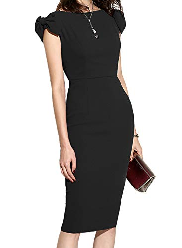 Black Cap Women's Bodycon Pencil Dress Business Slim WOOSUNZE Sleeve 8xPHw5wq