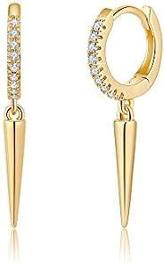 Gold Huggie Hoop Earrings, S925 Sterling Silver Post Dangle Hoop Earrings Hypoallergenic 14K Gold Plated Small