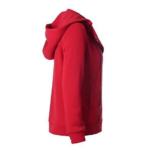 Con Cappuccio Oversize Colore Longsleeve Puro Collo Rosso Coreana Giacca La Moda Baggy Tasche Donna Parka Cappotti Autunno Zip Casual Giacche Giubbotto Laterali Con Invernali zwnpqU4R