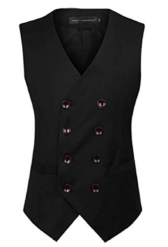 Comaba Mens Fashion V Neck Solid Skinny Double Breasted Suit Separate Vest Black L
